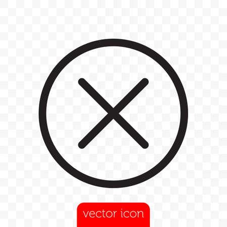 Close button. Vector close icon line X cross in circle