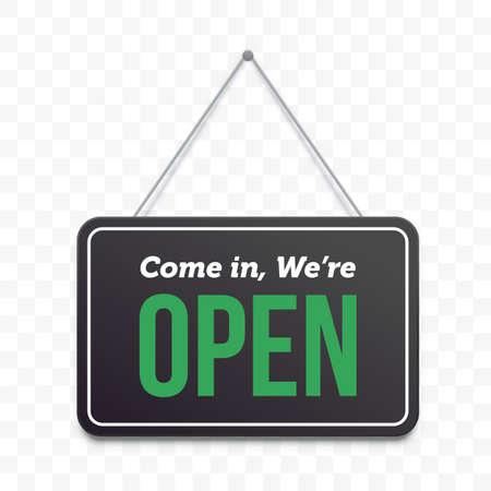 Signe de porte suspendue ouverte. Vecteur vert, nous sommes ouverts sur une enseigne noire, un café ou une enseigne de magasin