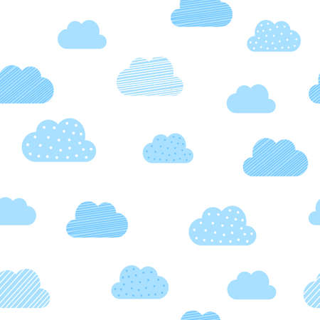Baby boy blue clouds pattern background. Vector baby shower and birthday greeting card cloud seamless pattern background Illustration