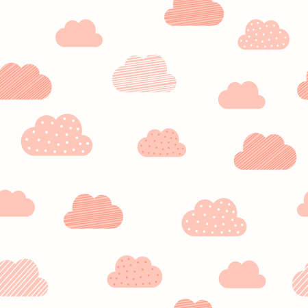 Baby girl pink clouds pattern background. Vector baby shower, Valentine and birthday or wedding greeting card cloud seamless pattern background