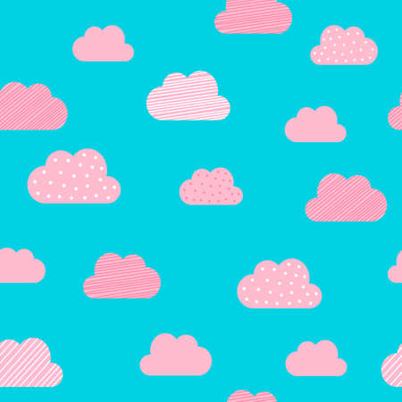 Cloud pattern background. Vector cartoon pink and blue clouds with dot and stripe pattern background