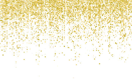 Golden confetti falling on white holiday background. Vector carnival glitter or party golden confetti background