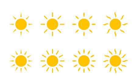 Sun yellow sunshine icon. Vector sun with line and swirl rays or heat beams Ilustração