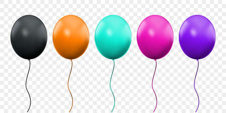 Balloon 3D vector realistic isolated on transparent background. Birthday party orange, pink, green and purple ballons on threads, black celebration balloon