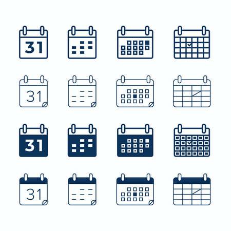 Calendar vector web icons. Day date and month agenda, calendar organizer memo icons