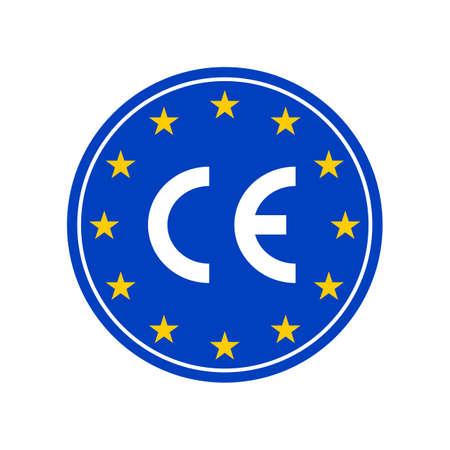 CE marking label, European Conformity certification mark. Vector EU high quality stars