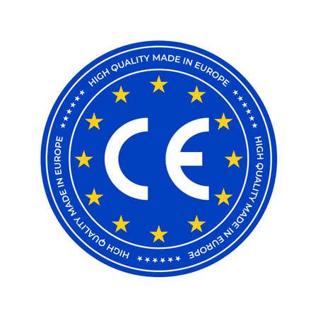 CE-Kennzeichen oder europäisches Konformitäts-Zertifizierungszeichen. Vektor-EU-Qualitätssiegel und Sterne