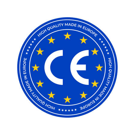 CE marking label or European Conformity certification mark. Vector EU high quality certificate seal and stars