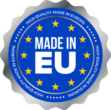 Made in EU high quality mark label. Vector European Union stars and silver stamp