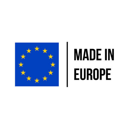 Made in EU high quality product certificate label. Vector made in European Union stars flag
