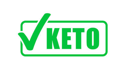Keto diet label green check mark stamp. Ketogenic diet vector icon