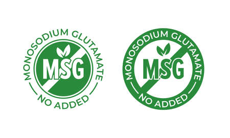 Glutamate no added vector icon. Contain no MSG monosodium glutamate food package seal stamp