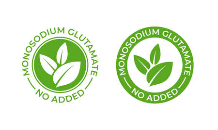 Glutamate no added food package icon. Contain no MSG monosodium glutamate vector seal stamp