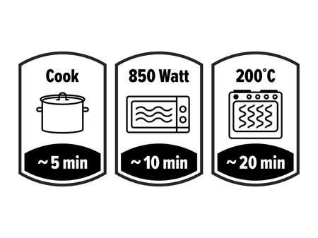 Icône de vecteur de minutes de cuisson. 5, 10 et 20 minutes de cuisson dans une casserole bouillante, watts micro-ondes et température de la cuisinière, symboles d'instructions de l'emballage de cuisson des aliments
