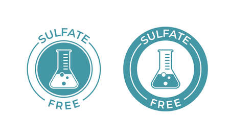 Sulfate free vector icon. Vector chemical test tube seal, sulfate free product warranty seal
