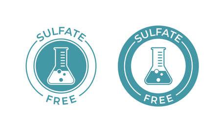 Sulfate free vector icon. Vector chemical test tube seal, sulfate free product warranty seal Foto de archivo - 121672450