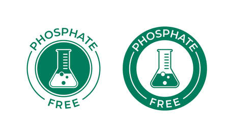 Phosphate free vector icon. Vector chemical test tube seal, phosphate free product warranty seal