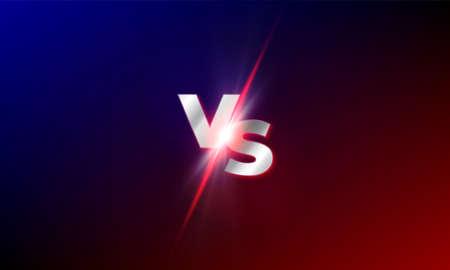VS versus fondo vectorial. Competencia de lucha de mma roja y azul VS plantilla de brillo de explosión de luz