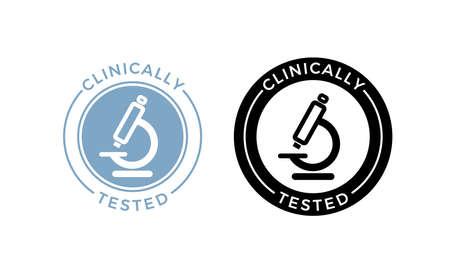 Ikona wektor przetestowany klinicznie mikroskop. Medycznie zatwierdzony certyfikat bezpieczeństwa dla zdrowia produktu pieczęć na etykiecie mikroskopu