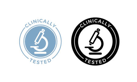 Microscope clinically tested vector icon. Medically approved product health safe certificate microscope label seal Stock Illustratie