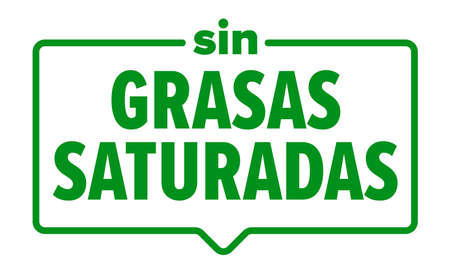 No saturated fats icon, Spanish sin grasas saturadas food package label. Vector saturated fats free product frame seal