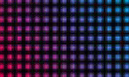 LED video wall screen texture background. Vector blue and red purple color light LED diode dot grid video screen