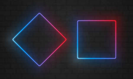 Neon frames. Vector line light bulbs in triangle and rectangle square, neon frame borders