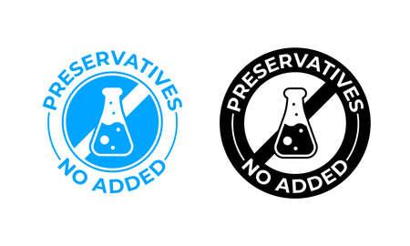 Conservantes sin icono de vector añadido. Sello de paquete de alimentos sin conservantes, probado médicamente