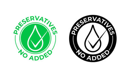 Preservatives no added vector icon. Preservatives free, natural food package seal, green drop Vector Illustration