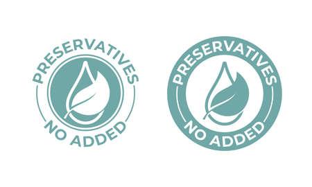 Conservantes sin hojas vectoriales añadidas ni icono de gota. Sello de paquete de alimentos naturales, sello de sello sin conservantes
