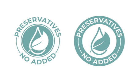 Preservatives no added vector leaf and drop icon. Natural food package stamp, preservatives free seal stamp