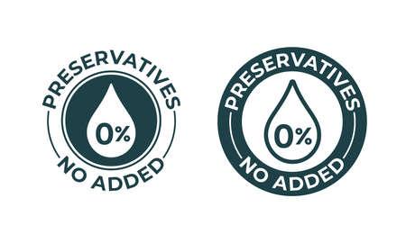 Conservantes sin icono de porcentaje de vector añadido. Sello de paquete de alimentos naturales, sello de sello sin conservantes
