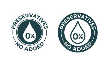 Preservatives no added vector 0 percent icon. Natural food package stamp, preservatives free seal stamp Banque d'images - 121672390