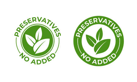 Conservantes sin icono de hoja orgánica verde vector añadido. Sello de paquete de alimentos orgánicos naturales sin conservantes Ilustración de vector