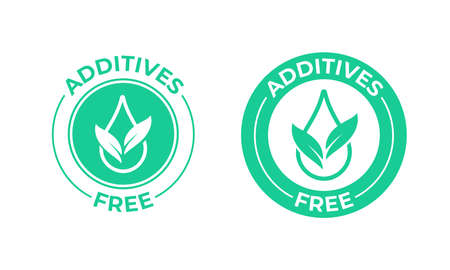 Addititves free vector icon. Green leaf and drop, addititves free natural food package stamp Vector Illustration