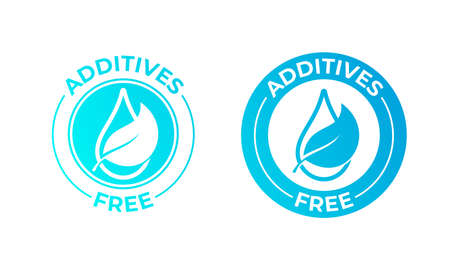 Additives free vector leaf and drop icon. Natural food package stamp, additives free no added seal
