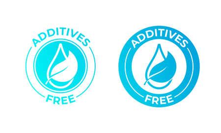 Hoja de vector libre de aditivos y icono de gota. Sello de paquete de alimentos naturales, sin aditivos sin sello agregado