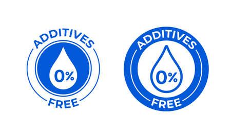 Icono de porcentaje de vector libre de aditivos. Sello de paquete de alimentos naturales, sello sin aditivos
