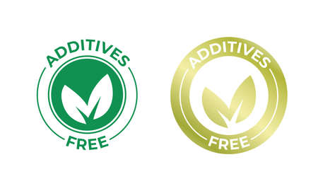 Additives free vector leaf golden icon. Additives free no added stamp, natural organic food package seal Vector Illustration