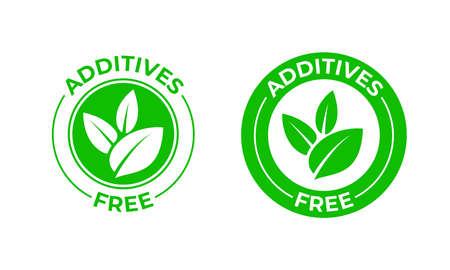 Aditivos vector libre icono verde hoja orgánica. Sin aditivos, sin adición, sello de paquete de alimentos orgánicos naturales