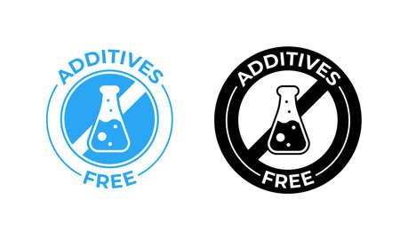Icono de vector libre de aditivos. Sin aditivos, sin adición, sello de paquete de alimentos probado médicamente Ilustración de vector