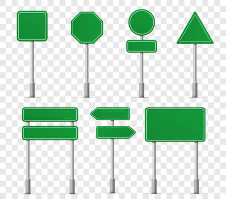 Road board highway signs icons. Vector street signboard information pointer, street direction road signs mockup templates on transparent empty background Illustration