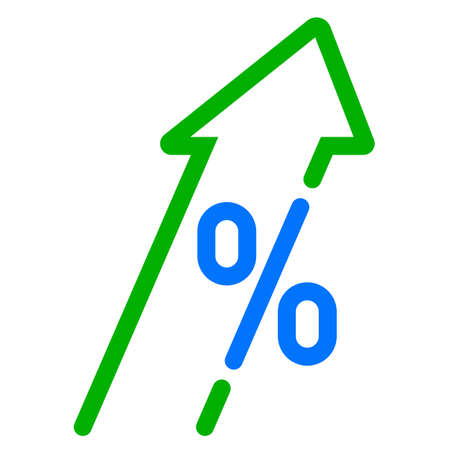 GDP high growth, green arrow and percent icon. Vector GDP, investment profit increase arrow up symbol Çizim