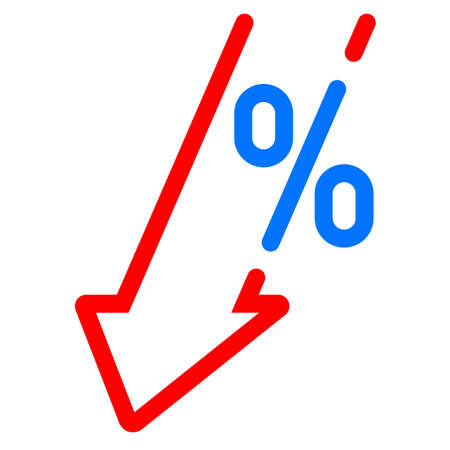 GDP decrease fall, red arrow and percent icon. Vector GDP, investment profit loss arrow down symbol Banque d'images - 121672344