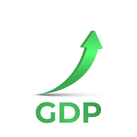 GDP high growth, green arrow up icon. Vector GDP increase, business profit symbol Illustration