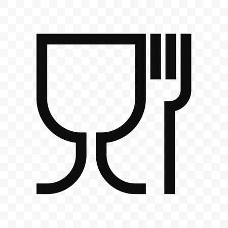 Vektorsymbol in Lebensmittelqualität. Lebensmittelechtes Material Weinglas und Gabelsymbol