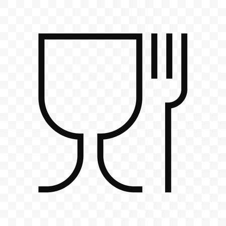 Symbole de verre et de fourchette de matériau sans danger pour les aliments. Icône de vecteur de qualité de sécurité alimentaire Vecteurs