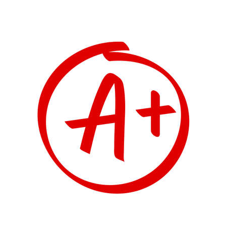 Grade A Plus result vector icon. School red mark handwriting A plus in circle Иллюстрация