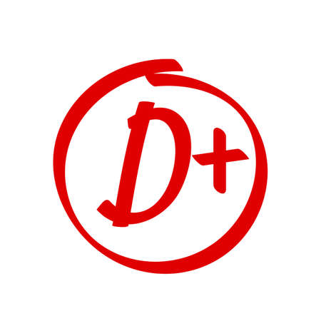 Grade D Plus result vector icon. School red mark handwriting D plus in circle