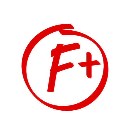 Grade F Plus result vector icon. School red mark handwriting F plus in circle
